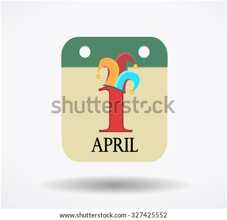 1st of April holliday, callendar sign isolated on white - stock photo