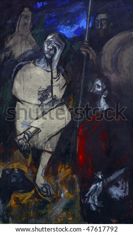 1st Station of the Cross, Jesus is condemned to death - stock photo