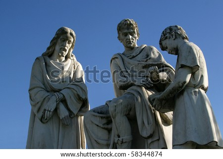 1st stations of the cross, Jesus is condemned to death, Pontius Pilate washes his hands - stock photo