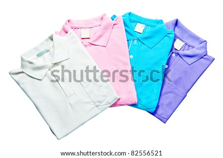 Stack colorful Polo - shirts freshly folded from the laundry isolated on the white background - stock photo