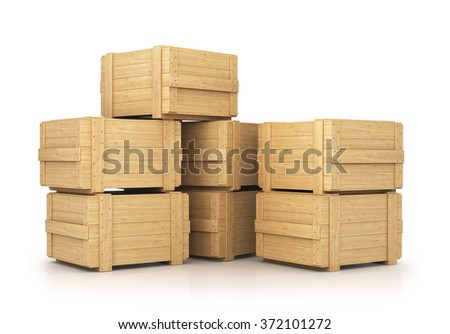Stack of wooden boxes - stock photo