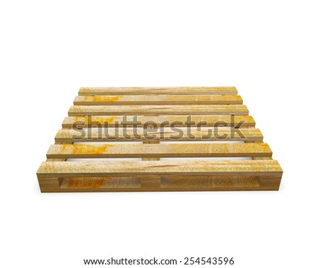 stack of wooden shipping pallets isolated on white background - stock photo