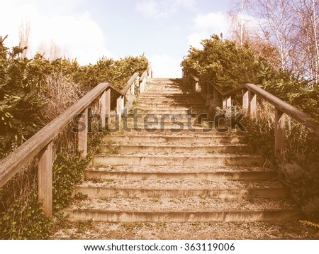 Stairway to heaven as a metaphoric symbol of elevation vintage - stock photo