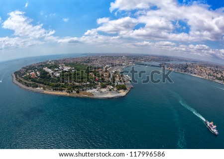 ?stanbul from helicopter - stock photo