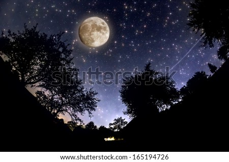 Starry Sky and full moon - stock photo