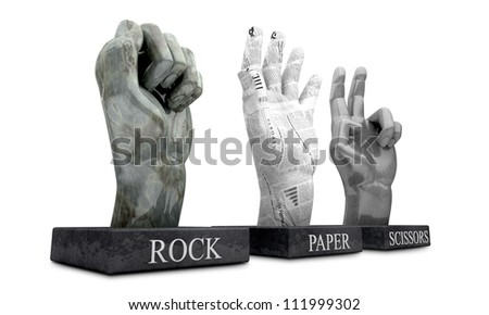 3 statuettes showing the hand-game Rochambeau, made out of the hand gestures corresponding to the materials of rock, paper and scissors on an isolated background - stock photo