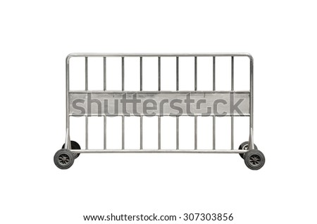 Steel barrier on wheel isolated on white background - stock photo