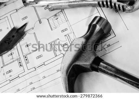 steel screws on design and project drawings - stock photo