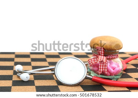 stethoscope and capsule bottle ,isolated white background and saved clipping path