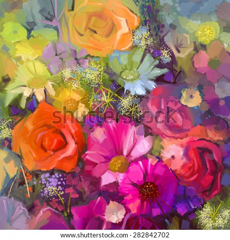 Still life of yellow and red color flowers .Oil painting a bouquet of rose,daisy and gerbera flowers . Hand Painted floral Impressionist style. - stock photo