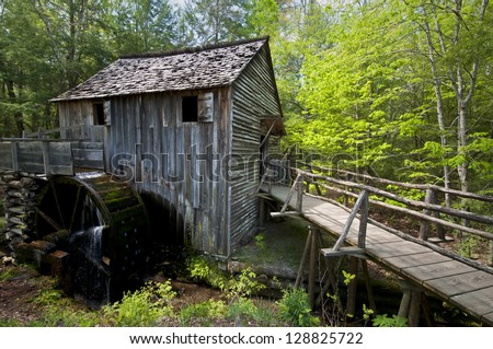 """""""Still Standing""""  Built in 1867, the John Cable Grist Mill still operates today at Cade's Cove in Great Smoky Mountains National Park, Tennessee. - stock photo"""