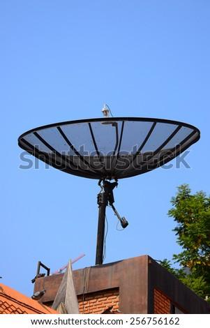 Stock Photo: Satellite dish sky sunset communication technology network image background for design - stock photo