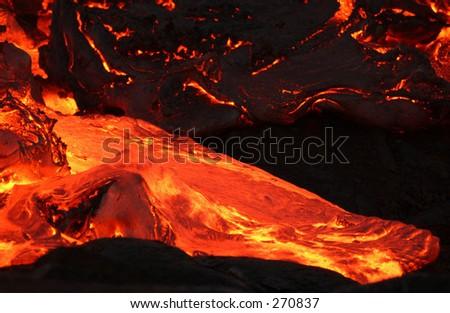 """""""STOCK - Volcano lava, Volcano National Park, Hawaii, February 2004 (Keith Levit)"""" - stock photo"""