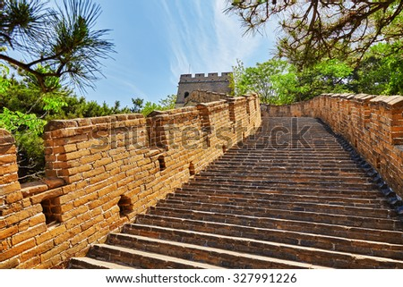 """Stone staircase of Great Wall of China, section """"Mitianyu"""". Suburbs of Beijing. - stock photo"""