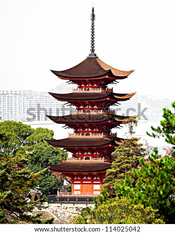 5-Storey Pagoda in Miyajima - stock photo