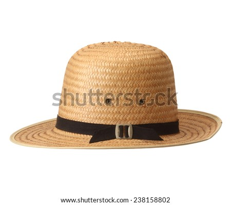 straw hat on white background.  - stock photo