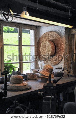 straw hats on the window sill, old manufacture