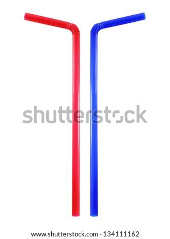 straw on white background - stock photo