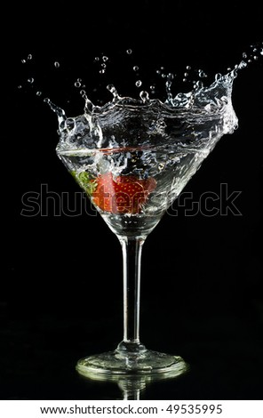 Strawberry cocktail on a black background