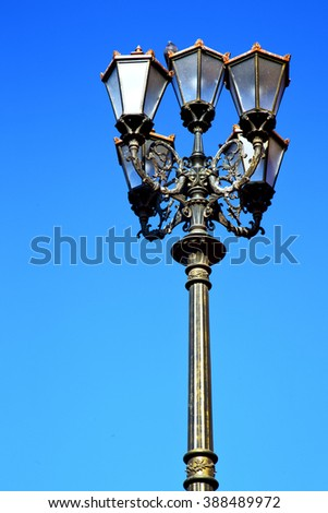 street lamp in morocco africa old lantern   the outdoors and sky - stock photo