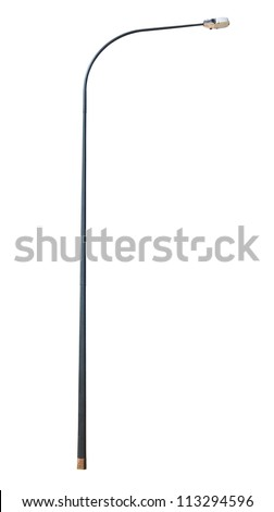 street lamppost isolated on white background - stock photo
