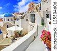 streets of Santorini, unique cycladic architecture - stock photo