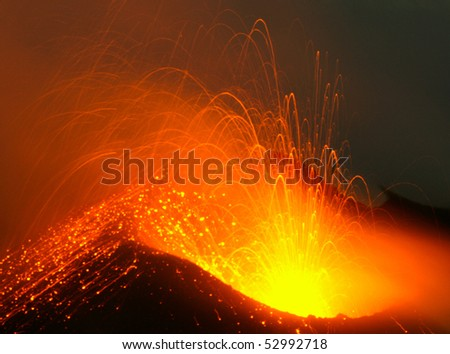 Stromboli eruption - stock photo