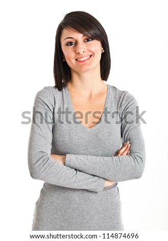 Studio portrait of a beautiful young woman - stock photo