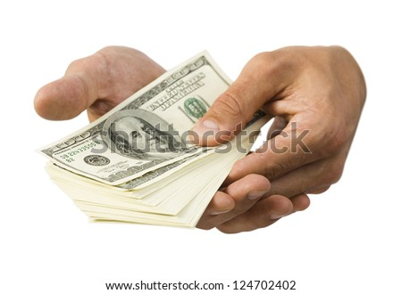 Studio shot of hands holding American dollars