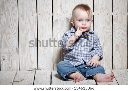 stylish kid  in bow tie - stock photo