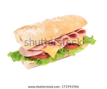 submarine sandwich from freshly cut baguette. isolated on white - stock photo