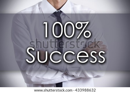 100% Success - Closeup of a young businessman with text - business concept - horizontal image