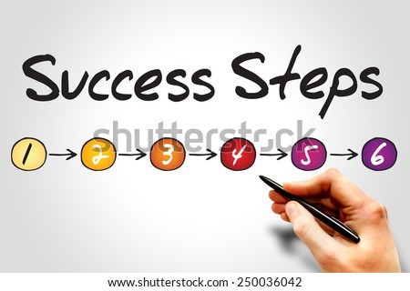 6 Success Steps, sketch business concept - stock photo