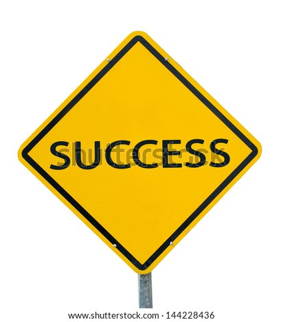 """SUCCESS"" traffic sign isolated on white background - stock photo"