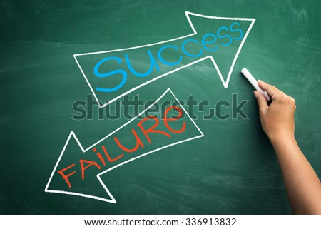 successes and failures written on blackboard background - stock photo