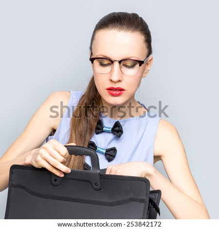 Successful businesswoman or entrepreneur. Busy businesswoman concept - stock photo