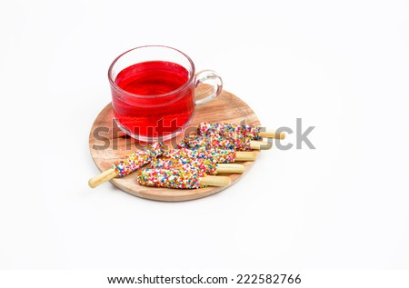 Sugar Cookie With Sprinkles and drink  Isolated On White - stock photo