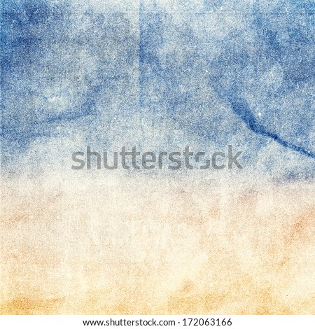 Summer beach recycled paper textured background with film grain. Abstract  grunge paper texture.  Highly detailed frame. - stock photo