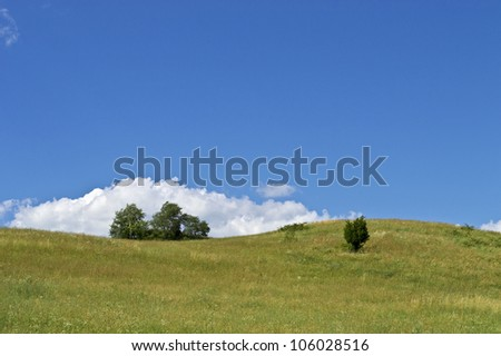 """Summer Hill"" A green hillside on a beautiful Summer day in Sussex County, New Jersey. - stock photo"