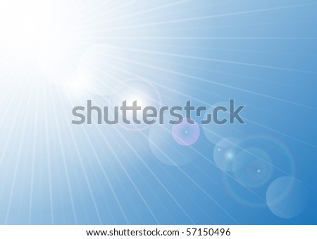 Summer Sky with Blurred Sun Rays - stock photo