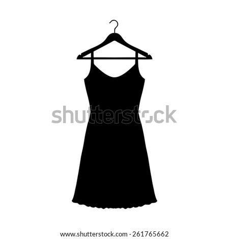 Sundress, Evening dress, combination or nightie on the wardrobe hanger , the silhouette. Menu item in the web design. - stock photo