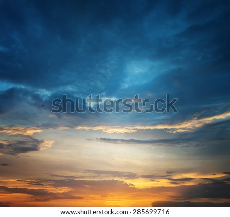 Sunset sky. Beautiful sky. - stock photo