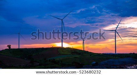 Sunsets wind turbines to generate electricity.