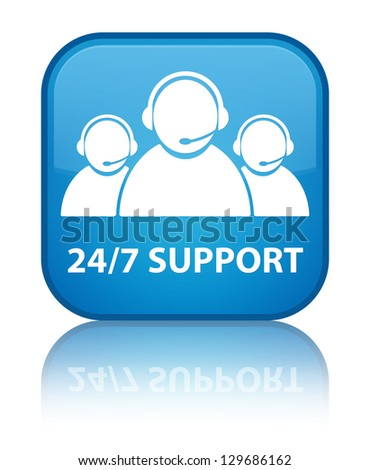 24/7 support (customer care team) glossy blue reflected square b - stock photo