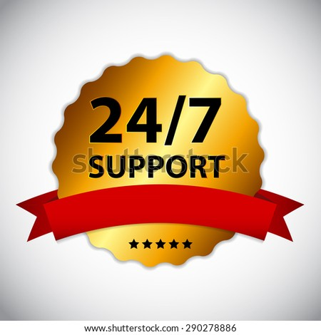 24/7 SUPPORT Sign, Label Template - stock photo