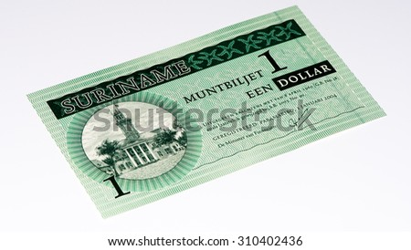 1 Surinamese dollar bank note. Surinamese dollar is the national currency of Suriname