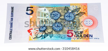 5 Surinamese gulden bank note. Gulden is the former currency of Suriname