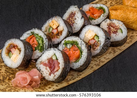 sushi roll  of the Japanese style (laver the outside)