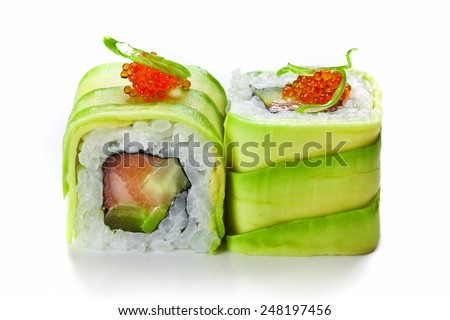 Sushi rolls with avocado and salmon isolated on white - stock photo