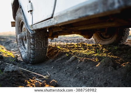 SUV off-road dirt, car bottom